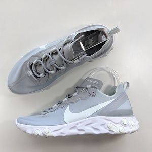 NEW Nike React Element 55 Wolf Grey/Ghost Aqua